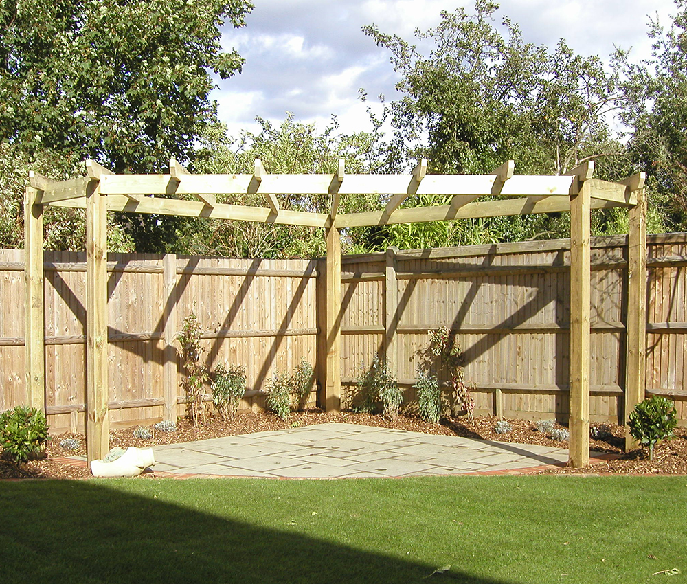 Sun trap corner Pergola and patio in West Malling Kent