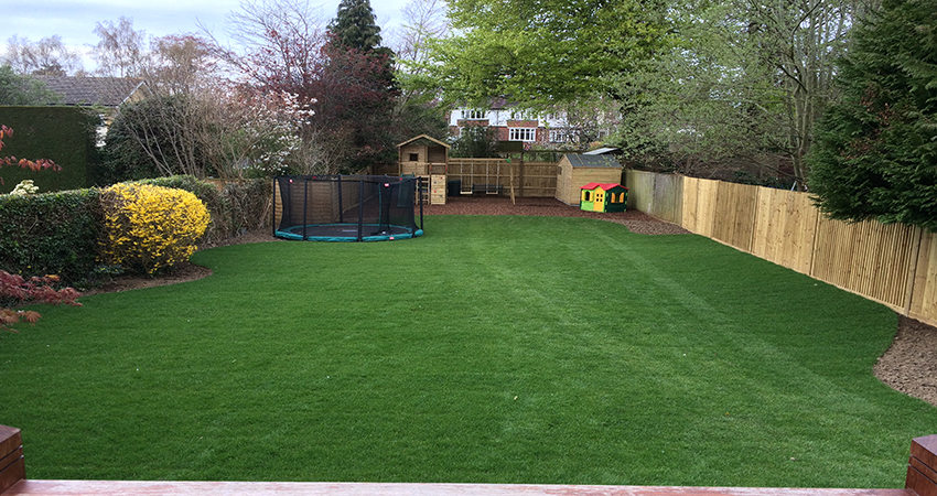 A newly laid lawn to a family garden with a sunken trampoline to make it less intrusive. Sevenoaks, Kent