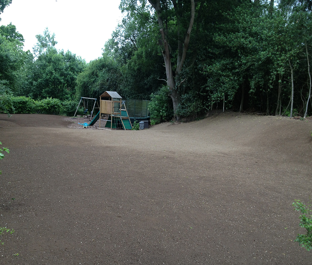 Children's play area re-contoured, top soiled and seeded. Stone Street Kent