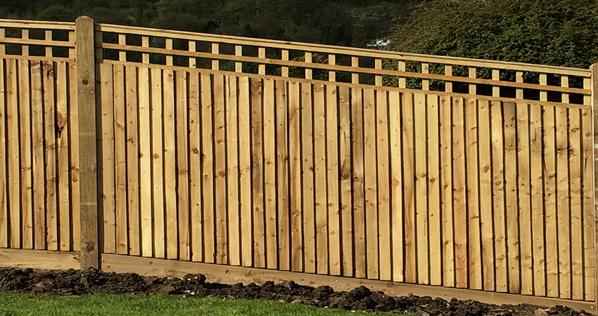 Close board fencing with trellis screen. Sevenoaks, Kent