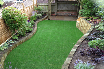 Completion of Artificial lawn in side garden Ightham Kent