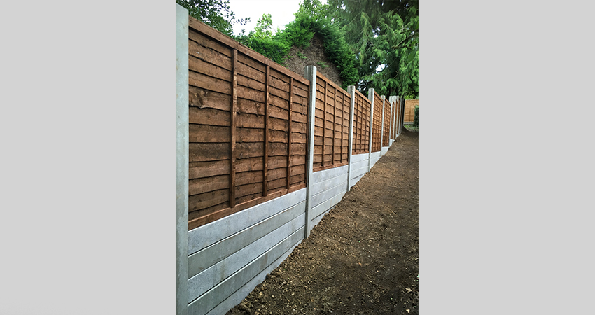 Concrete slotted post & gravel boards 6 foot fence panels. Sevenoaks, Kent