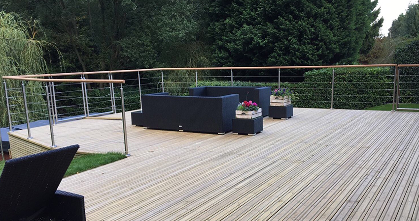 Contemporary decking with stainless steel balustrade, Ightham, Kent