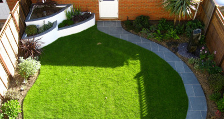 Contemporary design using curves to maximise space in a small garden. Larkfield, Kent