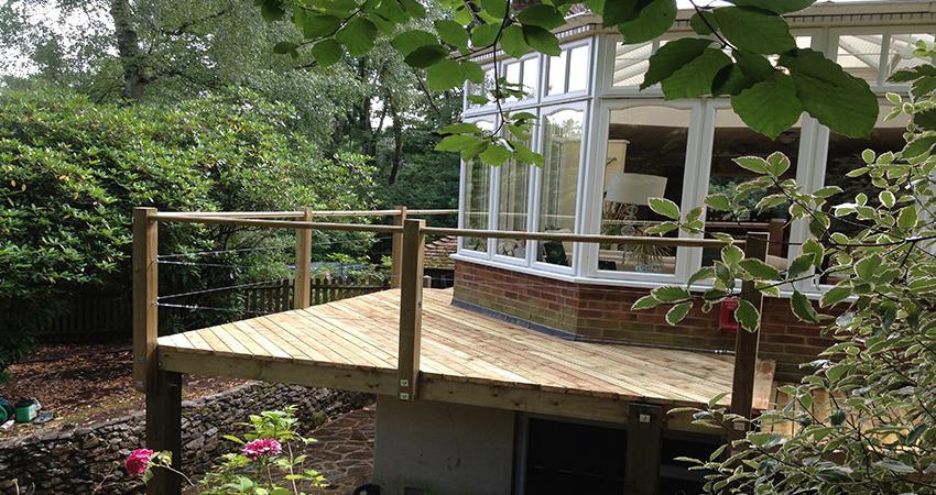 Decked Veranda using pressure treated planks, Ightham, Kent