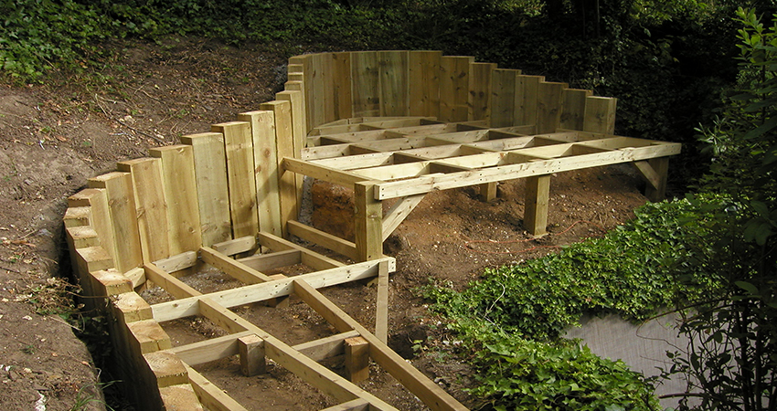 Decking framework for Board walk. Ightham, Kent