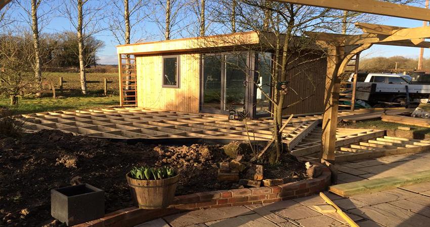 Decking under construction, Four Elms, Kent