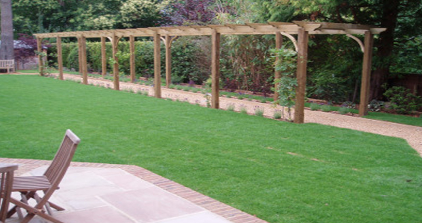 Elegant Pergola walkway leading to raised veg beds, Sevenoaks, Kent