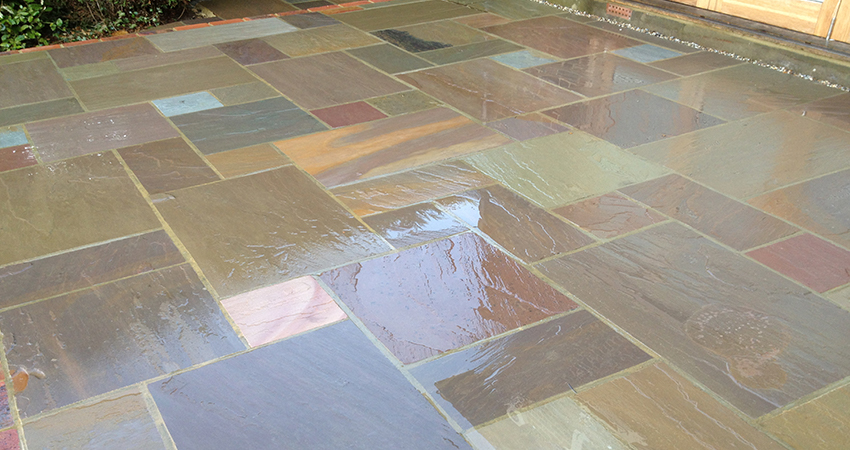 Example of our Raj Indian sand stone paving laid in an irregular layout with flat edge pointing. Sevenoaks, Kent