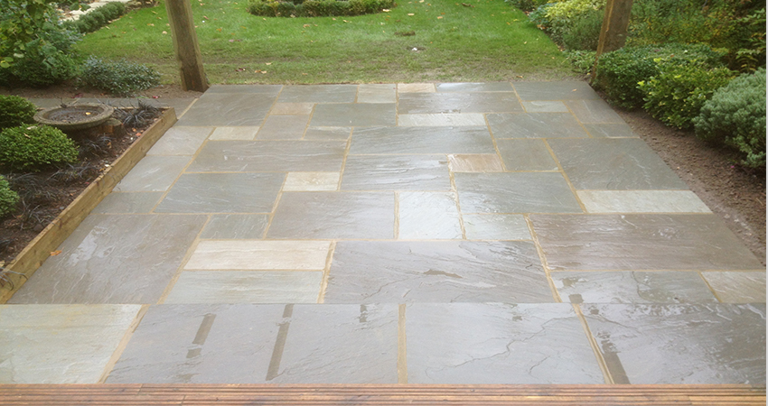 Example of our grey Indian sand stone paving ith flat edge pointing. Bromley, Kent