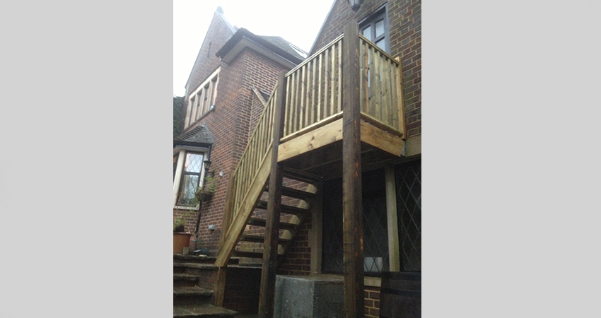 Exterior timber staircase leading to Art studio. Ightham, Kent