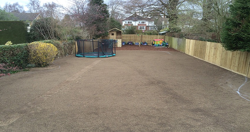 Family garden graded and being prepared for turfing. Sevenoaks, Kent