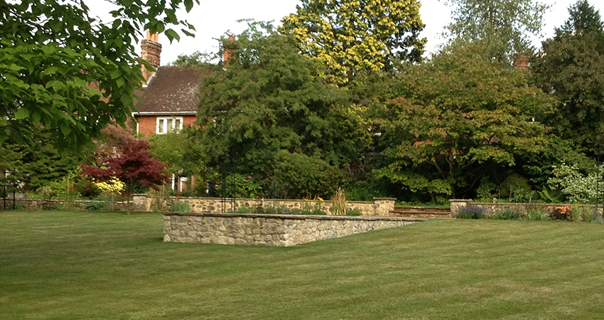 Fibreglassed lined formal pond feature. Bitchet Green, Kent