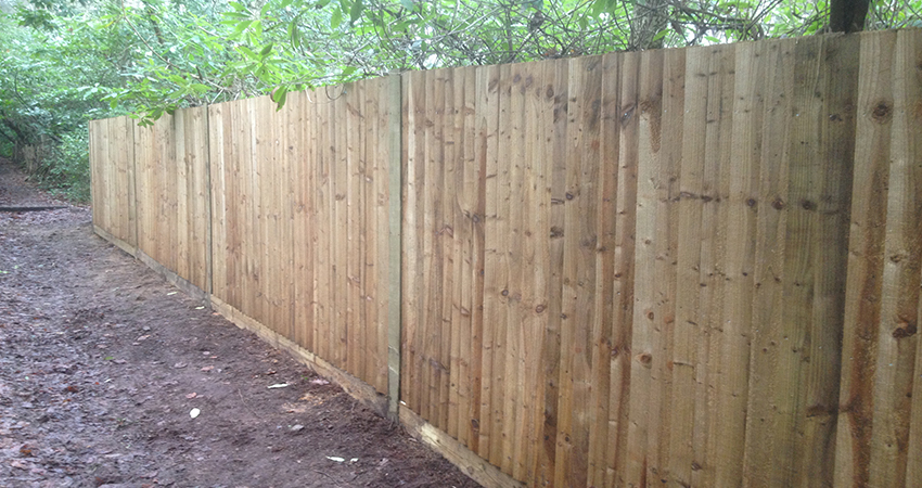Front view of a 6 foot high close board fence. Ightham, Kent