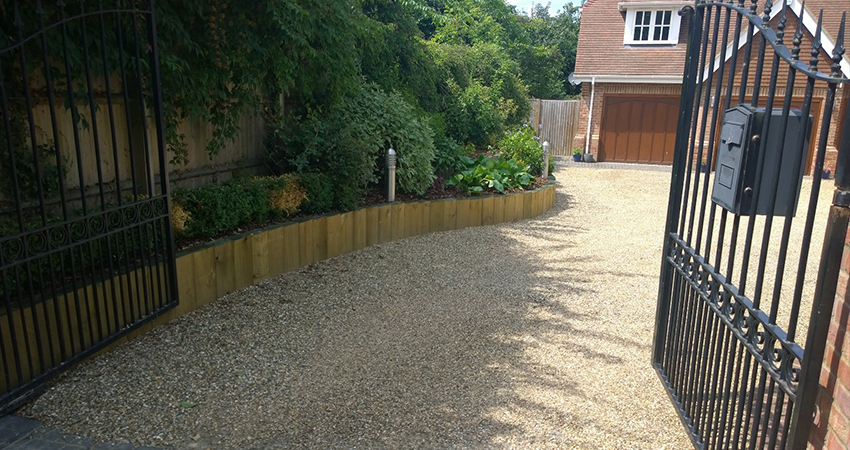 Gravel driveway with granite sets. West Malling, Kent