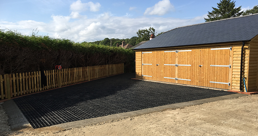 Ground reinforcement system used for gravel driveway and garage enternace. Stone street, Kent