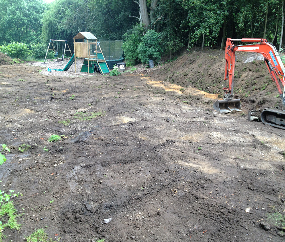Ground work preparation for children's play area Stone Street Kent