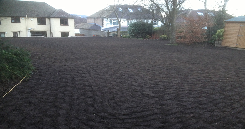 Lawn preperation using Organic peat free compost and topsoil blend. Sevenoaks, Kent