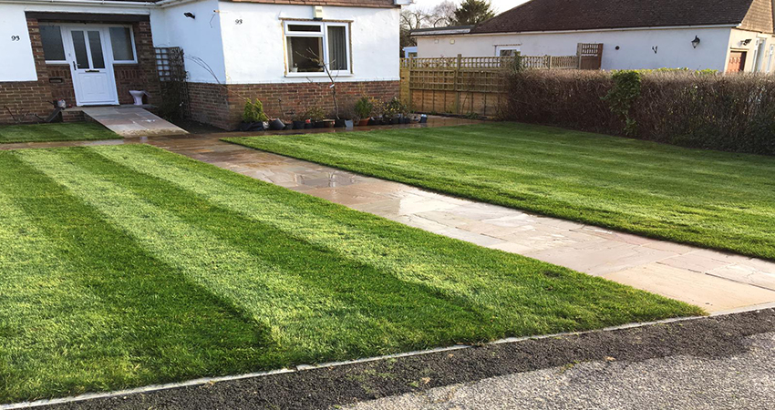 Newly laid front lawn. Otford, Kent