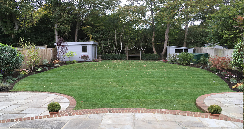 Newly laid lawn with shrub & herbaceous borders. Sevenoaks, Kent