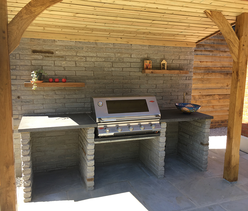 Outdoor Kitchen with granite surfaces and Indian stone walling Seal Sevenoaks Kent