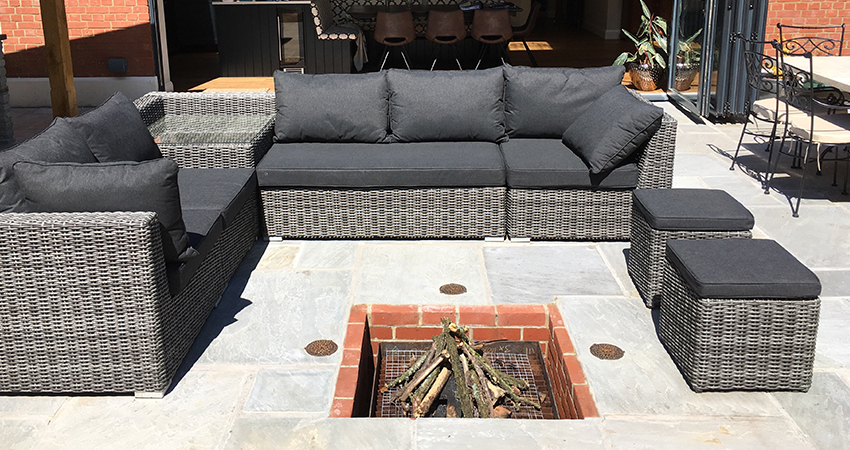 Outdoor living space with sunken fire pit for those cooler evenings. Seal, Sevenoaks, Kent