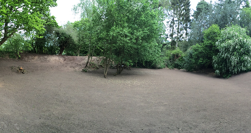 Play area prepared for grass seeding. Stone Street, Kent