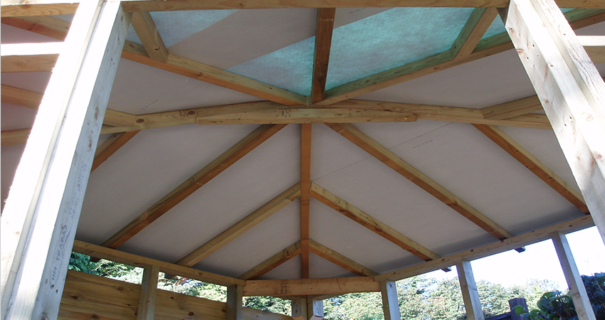 Playhouse roof structure showing breathable membrane. Bromley, Kent