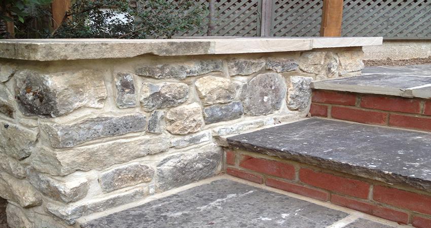 Rag stone restoration walling with York stone capping and step treads. Bitchet Green, Sevenoaks, Kent