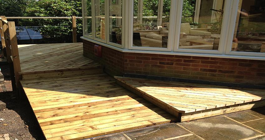 Raised decked walkway around a Conservatory, Ightham, Kent