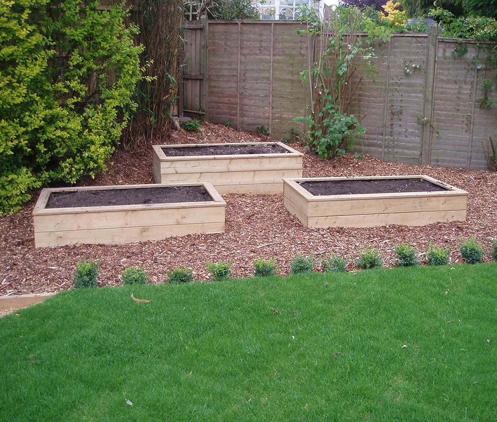 Raised vegetable beds designed to sit neatly in a small garden Sevenoaks Kent