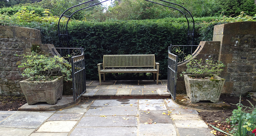 Restored York paved seating area. Bitchet Green, Sevenoaks, Kent