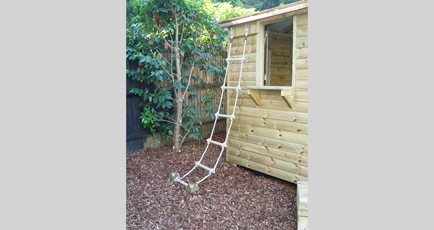 Rope ladder to side of playhouse for additional fun. Bromley, Kent