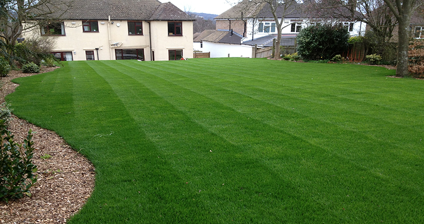 Terraced garden laid to lawn. Sevenoaks, Kent