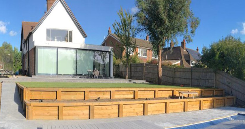 Terraced sleeper walling. Ightham, Kent