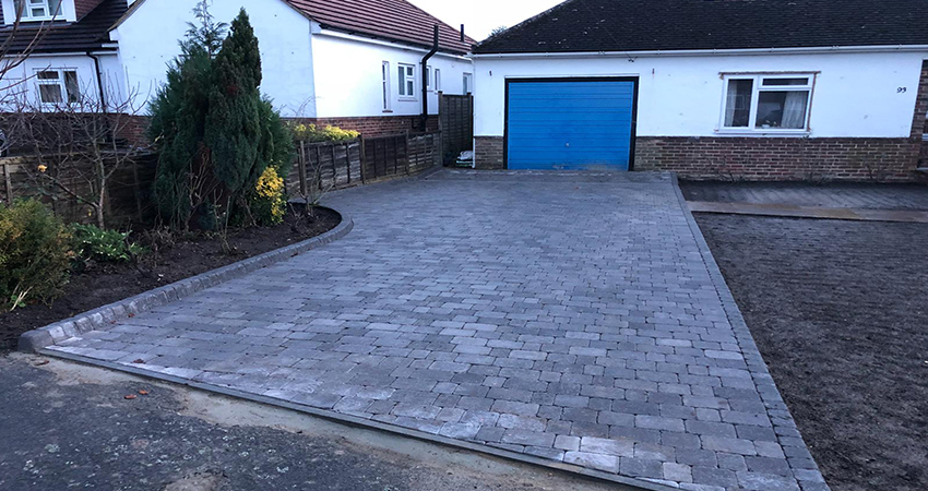 Tumbled block paving driveway. Otford, Kent