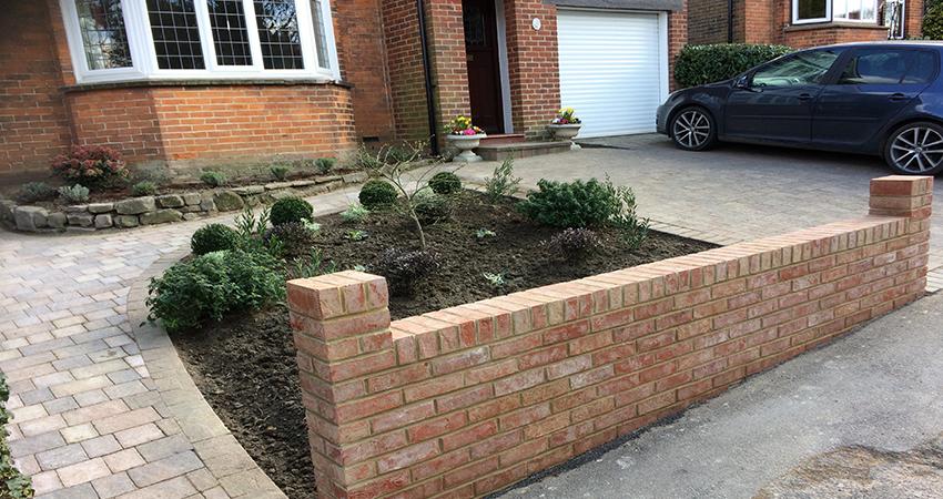 Tumbled block paving driveway. Tonbridge, Kent