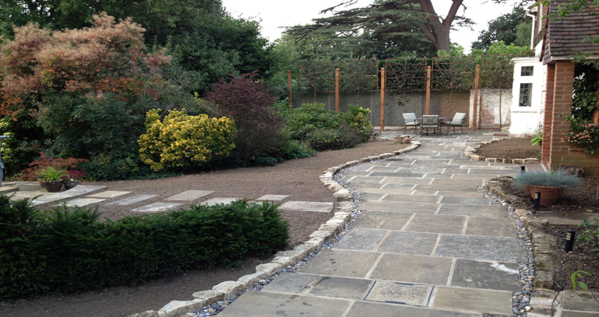 York stone front pathway with Rag stone edging. Bitchet Green, Sevenoaks, Kent